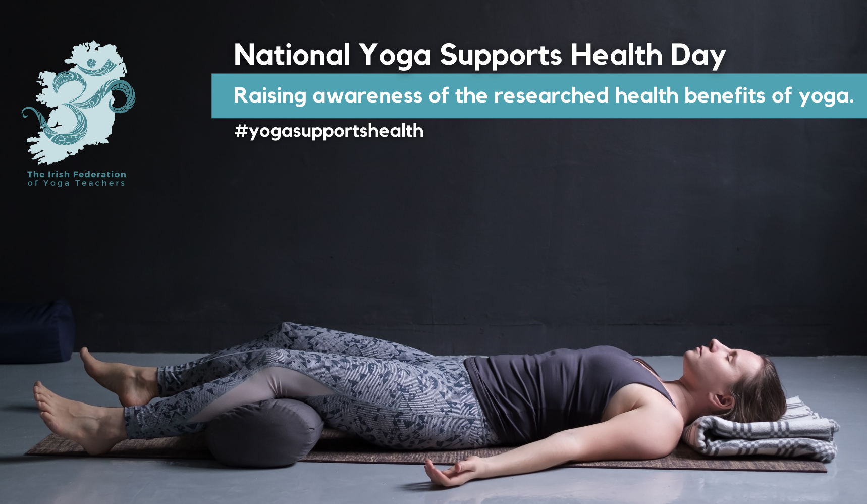 lady lying in relaxation legs over a bolster for yoga supports health event